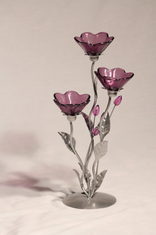 3 Cup Purple Flower Tea Light Holder