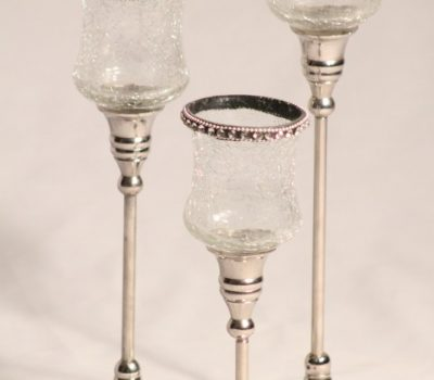 Set of Three Aluminium Tea-light holders with crackle Glass bowls