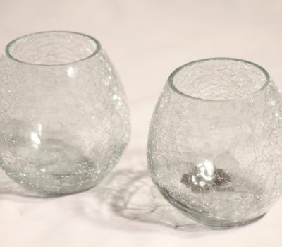 Two Glass Beaker Type, Crackle Glass Tea-Light Holder