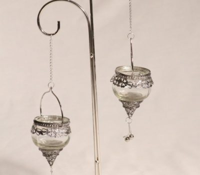 Two Piece Tea-light Holder with silver stand