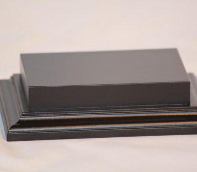 Raised Top rectangular Base in Satin Black 80mm x 125mm