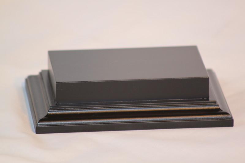 Raised Top rectangular Base in Satin Black 80mm x 125mm