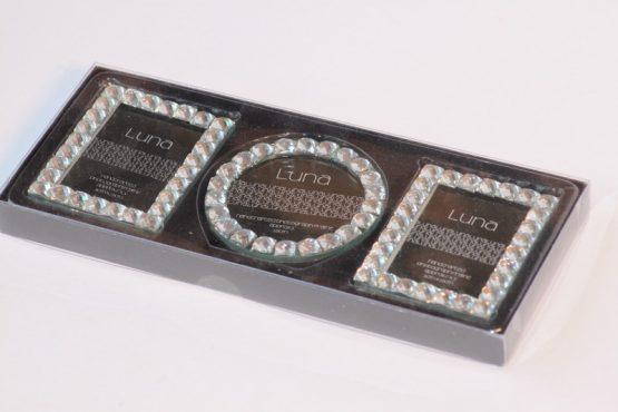 Set of Three Photo Frames with Jewel Edges