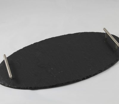 Small Black Slate Oval Tray