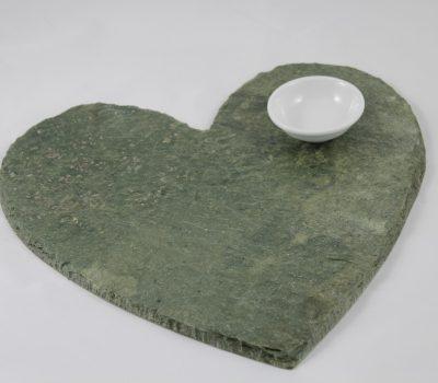 Green Heart Shaped Slate Cheeseboard