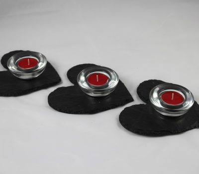 Three Black Slate Hearts with Tea Lights