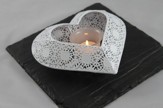 Black Slate with White Heart Tea Light
