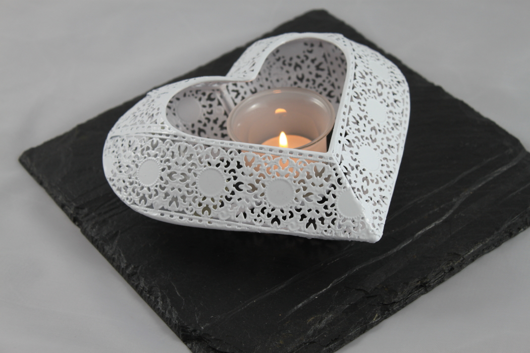 Black Slate with White Heart Tea Light