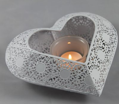 White Metal Heart with Glass Tea Light Holder