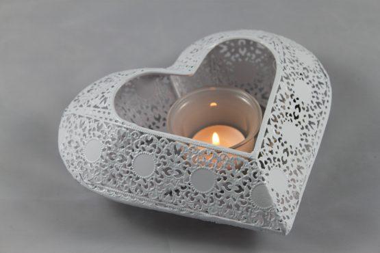 White Metal Heart with Glass Tea Light Holder