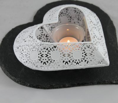 Black Slate Heart with White Metal Heart Tea Light