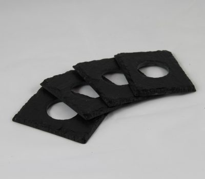 Four Black Slate Napkin Rings and White Linen Napkins