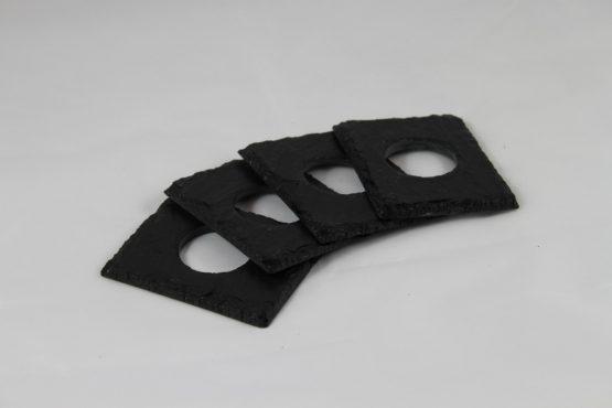 Four Black Slate Napkin Rings and White Linen Napkins