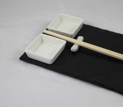 Slate Sushie Board with Ceramic Dipping Dishes and Chopsticks