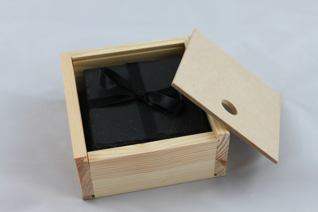 Set of Four Black Slate Coasters