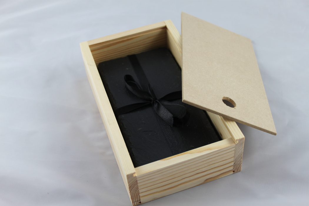 Set of Four Double Black Slate Coasters
