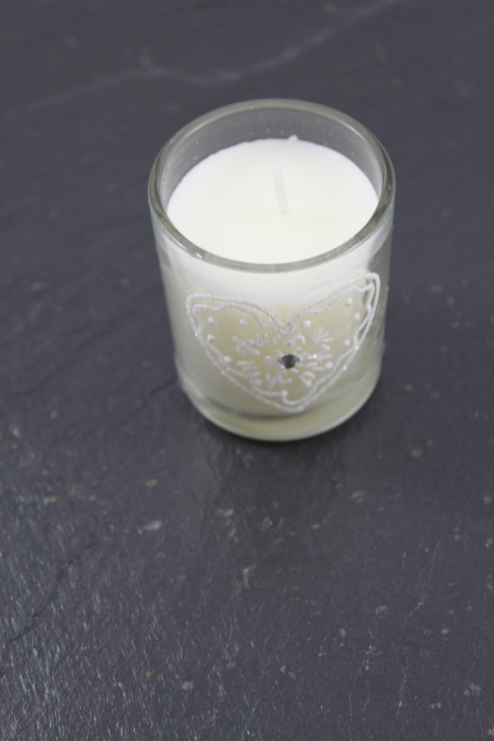Glass Tea light with wax painted heart On The Front