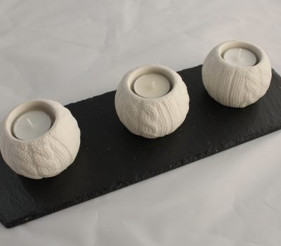 Three Knitwear White  Porcelain Tea Light holders on a Black Slate Base