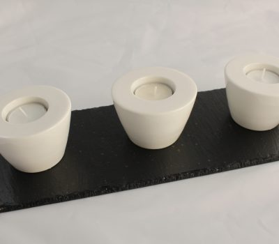 Three Tealight Holders White Porcelain on a Black Slate