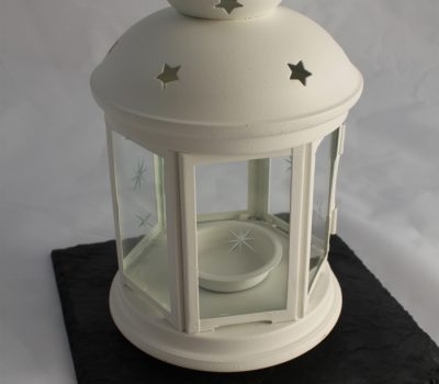 White Tea Light Lantern on a Black Slate
