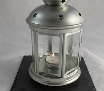 Silver Tea Light Lantern on a Black Slate
