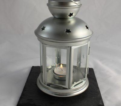 Silver Tea Light Lantern on a Black Slate