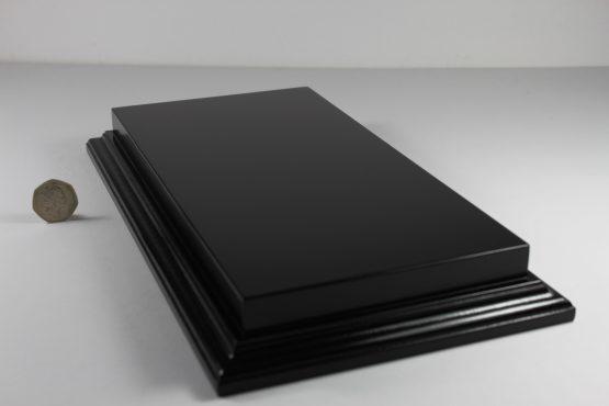 Raised Top rectangular Base in Satin Black 125mm x 300mm