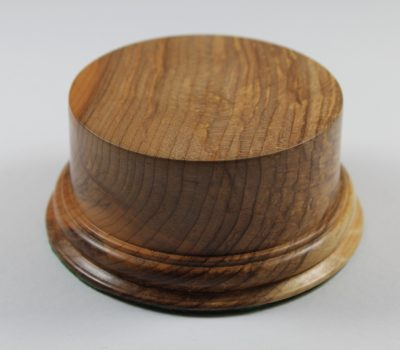 A solid Yew Hand Turned Base for Models or Trophies 45mm Hight and a Display Area of 80mm Diameter