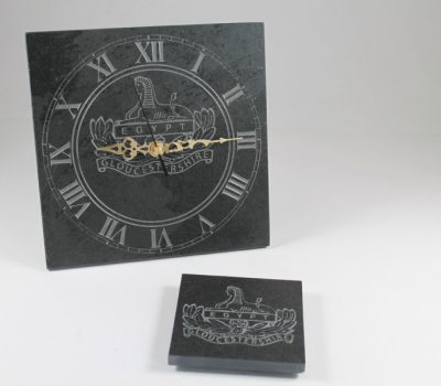 Gloucestershire Regiment Freestanding Slate Clock 20cm x 20cm x 10mm
