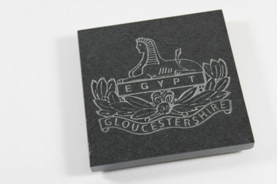 Slate Engraved Coaster, quantity 4 of 100mm x 100mm x 10mm Gloucestershire cap badge