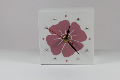 100mm Mantle Clock Poppy in Pink