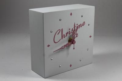 130mm Mantle Clock personalised name in pink