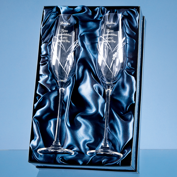 2 Diamante Champagne Flutes with Heart Shaped Cutting in a Satin Lined Gift Box