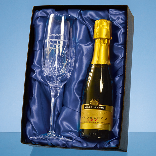 Blenheim Single Champagne Flute Gift Set with a 20cl Bottle of Prosecco