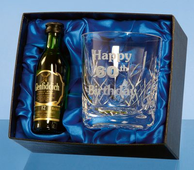 Blenheim Whisky Tumbler Gift Set with a 5cl Miniature Bottle of Malt Whisky