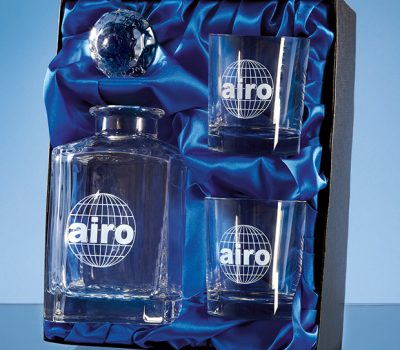 3pc Plain Whisky Set in a Satin Lined Presentation Box