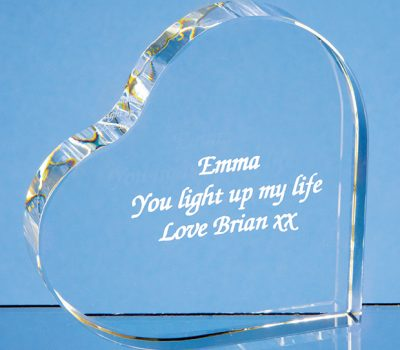9.5cm Optical Crystal Stand Up Heart