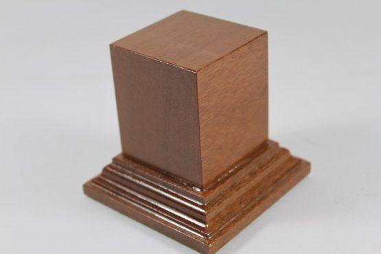 Square Solid Mahogany Plinth 50mm x 50mm x 60mm High