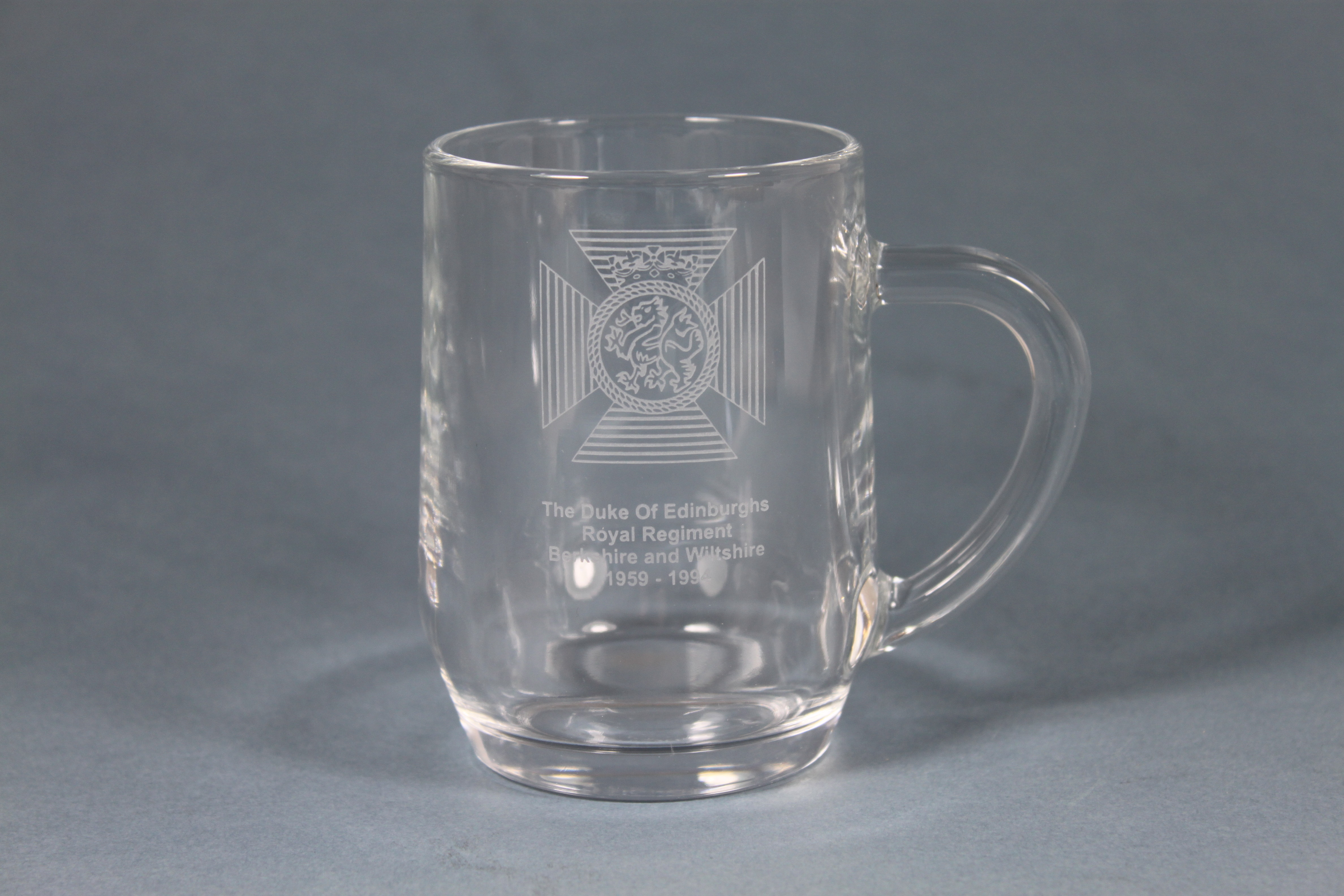 Small Mancunian Tankard .27ltr  Engraved with The Duke Of Edinburghs Royal Regiment Cap Badge
