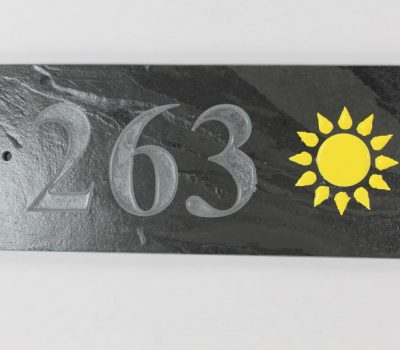 Deep Engraved Slate House name plate three numbers and Sun 300mm x 120mm x 10mm
