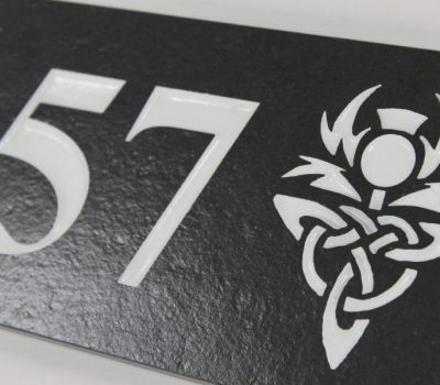Deep Engraved Slate House name plate two numbes and thistle 230mm x 120mm x 10mm