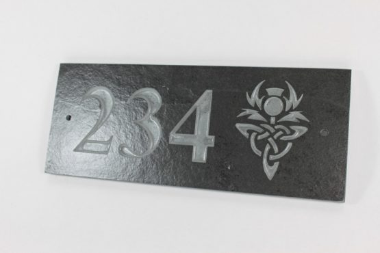 Deep Engraved Slate House name plate three numbes and thistle 300mm x 120mm x 10mm