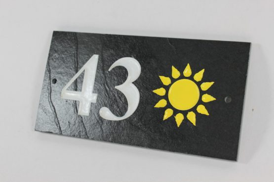 Deep Engraved Slate House name plate two numbers and Sun 230mm x 120mm x 10mm