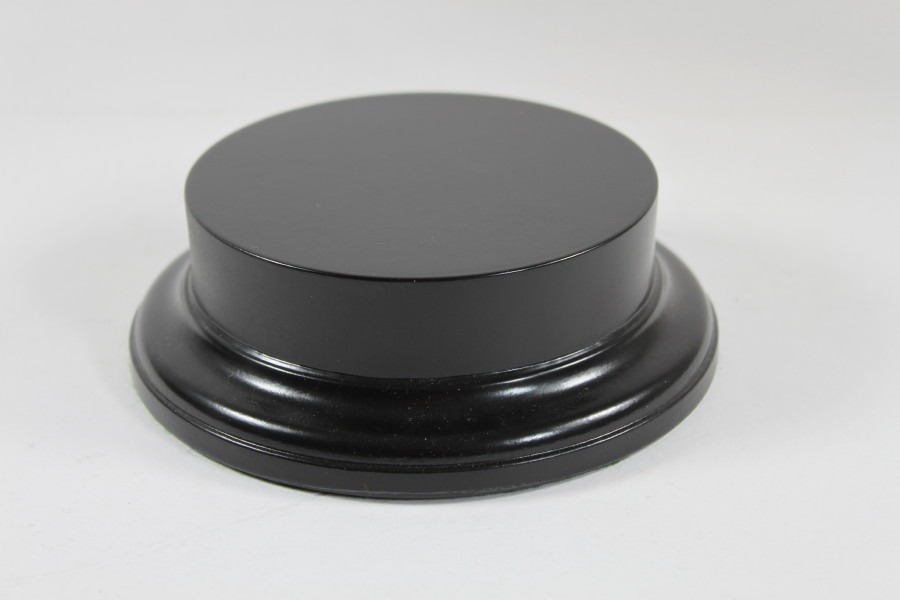 Black mdf Round Base with 23mm upstand and a 110mm display area 200015