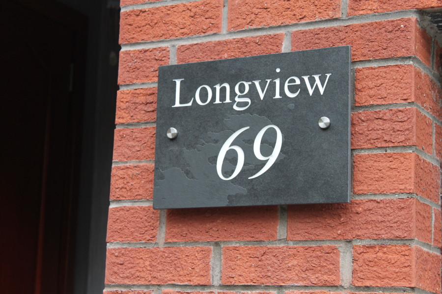 Deep engraved slate house name plate 350mm x 250mm x 10mm for Deep house names