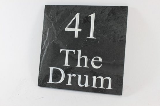 Deep Engraved Slate House name plate 200mm x 200mm x 10mm