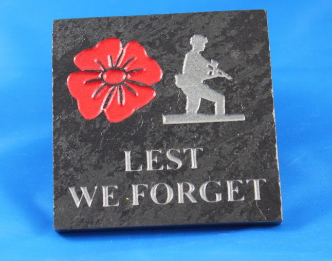 Slate Engraved Coaster quantity 4 of 100mm x 100mm x 10mm Lest we Forget
