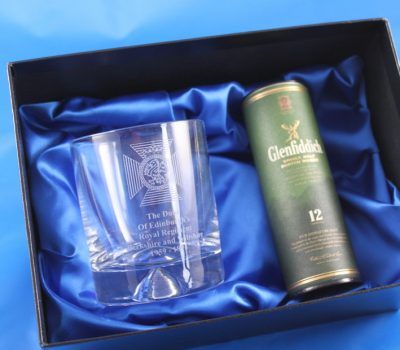 Whisky Tumbler Gift set with 5cl Miniature Bottle of Malt Whisky  Engraved with The Duke Of Edinburgh's Royal Regiment Badge