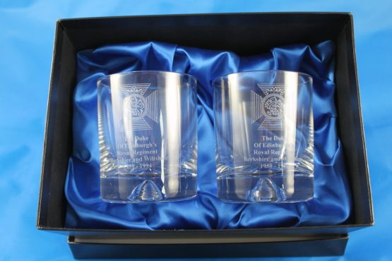 Two Whisky Glasses In A Presentation Box Engraved with The Duke Of Edinburghs Royal Regiment Cap Badge