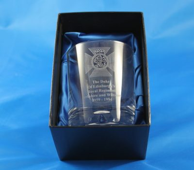 Single Whisky Glass In A Presentation Box Engraved with The Duke Of Edinburghs Royal Regiment Cap Badge